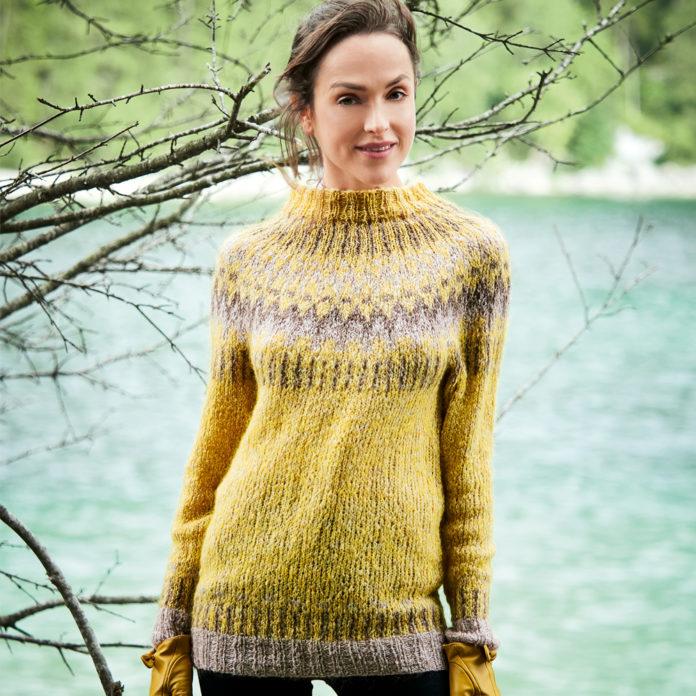 Теплый пуловер лопапейса из мохера схема вязания с подробным описанием