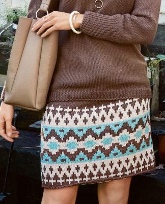Прямая юбка спицами с жаккардовым узором