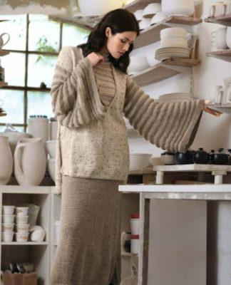 Вязаный костюм: Туника с широкими рукавами и двухслойная юбка в пол схема вязания спицами для женщин бесплатно