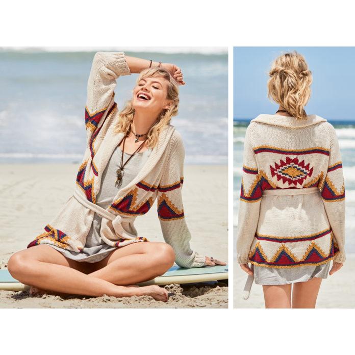 Кардиган спицами с индейским орнаментом схема вязания с подробным описанием для женщин спицами бесплатно подробно