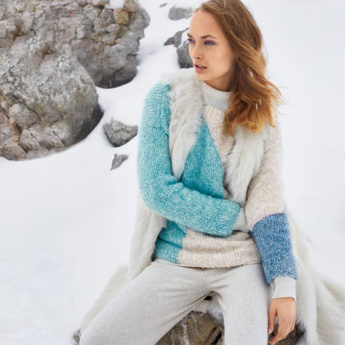 Пуловер спицами из фрагментов разных цветов схема вязания с подробным описанием