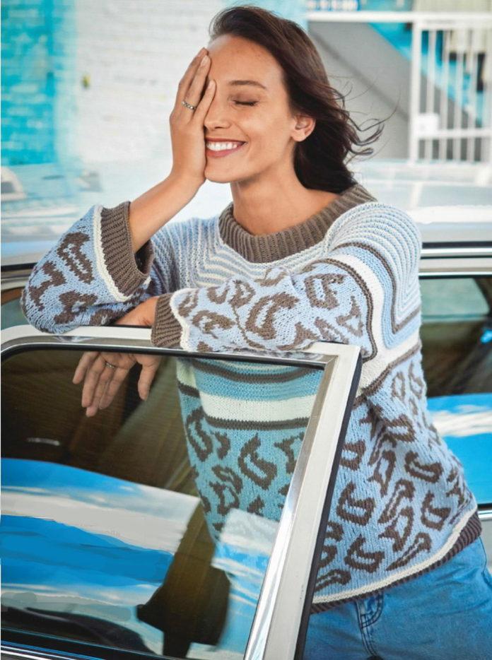 Пуловер с жаккардовым узором и рукавом реглан спицами схема вязания с подробным описанием для женщин