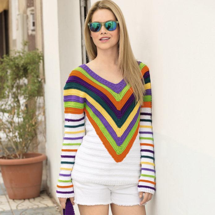 Полосатый пуловер с V-образным вырезом спицами схема вязания спицами с подробным описанием