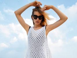 Пляжная туника спицами с сетчатым узором схема вязания с подробным описанием для женщин