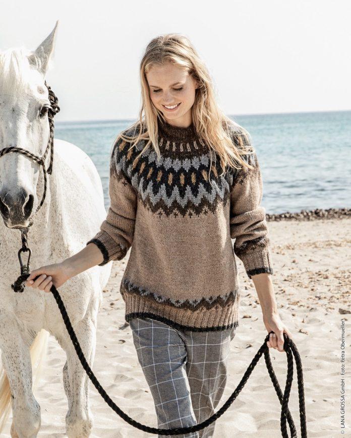 Схема вязания свитера с жаккардовой кокеткой с подробным описанием для женщин бесплатно