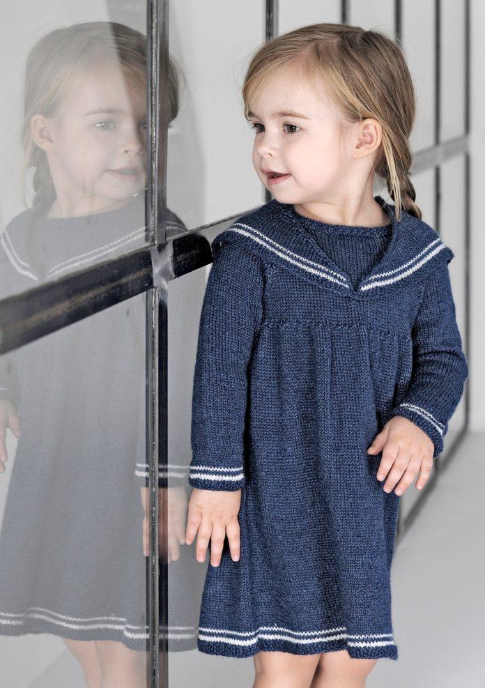 Платье в морском стиле для девочки спицами схема вязания с подробным описанием для девочки