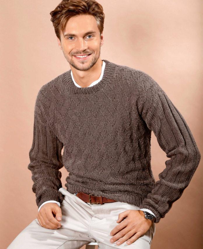 Классический мужской пуловер спицами схема вязания с подробным описанием