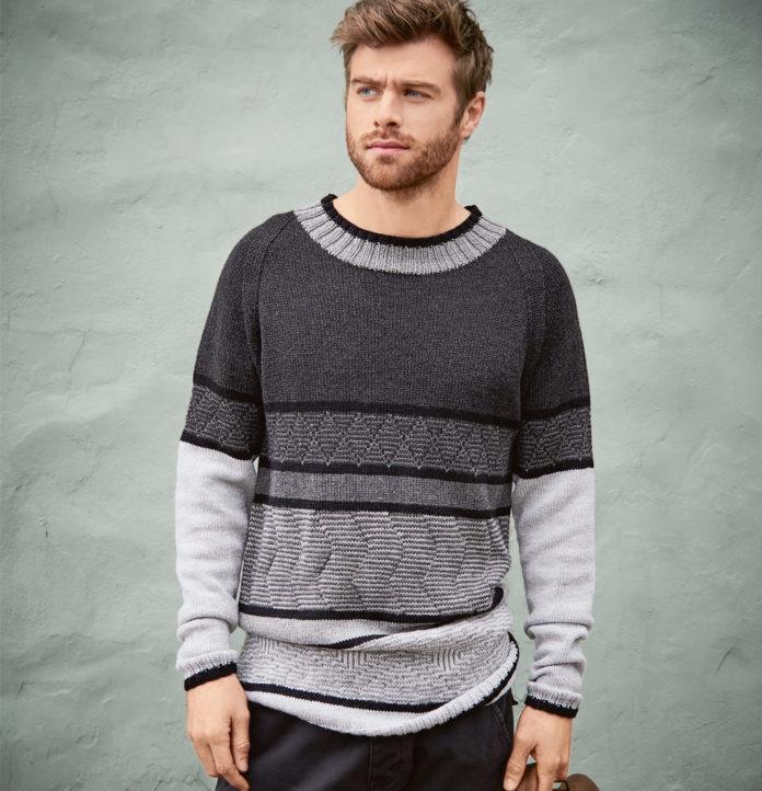 Мужской пуловер фантазийным узором в полоску схема вязания с подробным описанием
