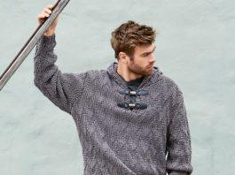 Мужской пуловер спицами с капюшоном схема вязания с подробным описанием