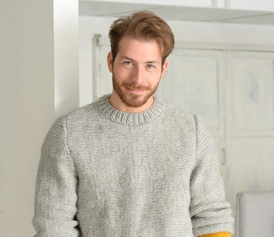 Мужской пуловер спицами с контрастной вставкой на рукавах схема вязания спицами с подробным описанием