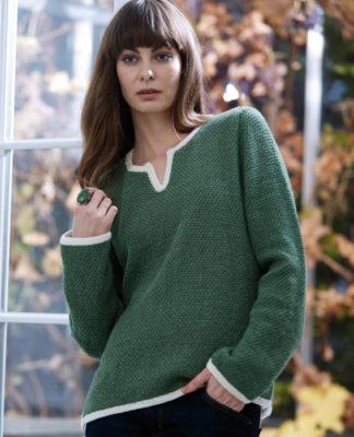 Пуловер спицами оверсайз с контрастной отделкой и разрезами по боками схема вязание спицами с подробным описанием для женщин бесплатно