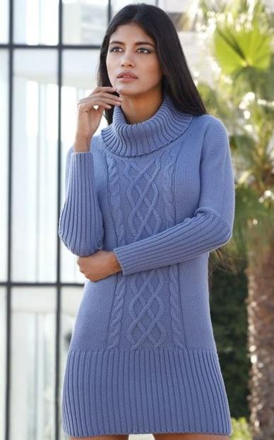 Платье спицами с крупным узором по середине полочки схема вязания с подробным описанием для женщин спицами