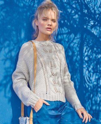 Пуловер с узором Рис и ажурным узором Листья