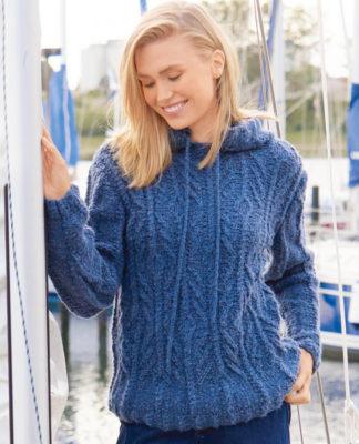 Пуловер с капюшоном спицами унисекс схема вязания с подробным описанием