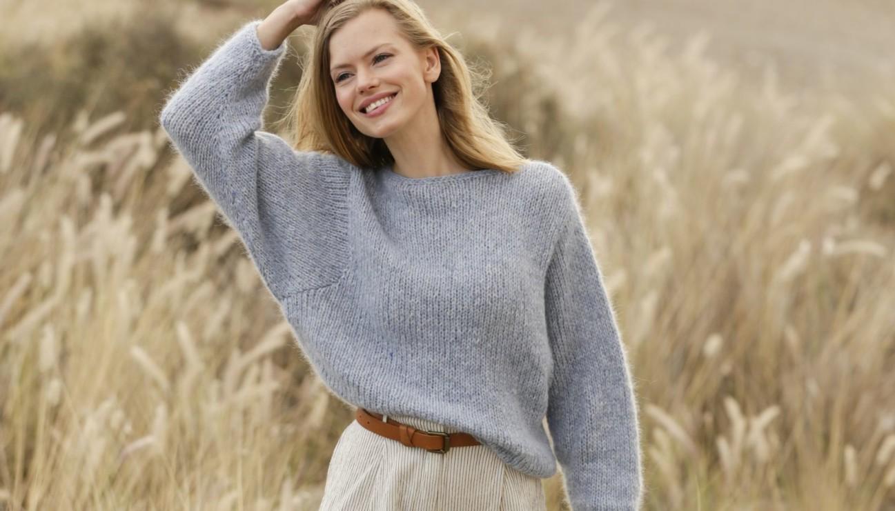 Джемпер оверсайз спицами с объемным рукавом схема вязания с подробным описанием для женщин бесплатно